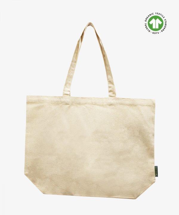 Organic bag with bottom gusset